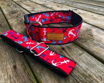 Anchors Dog Collar, Maritime, PEI, Red, Blue