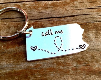 State Keychain ANY STATE, USA, Pennsylvania with Custom Phrase - Long Distance Relationship Keychain