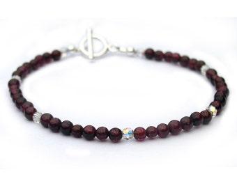 Garnet and Crystal Dainty Bracelet for Women Sterling Silver