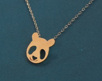 Panda Bear Necklace, Gold Bear Charm , Panda Gifts , Gold Panda Pendant , Gold Panda Necklace , Panda Face , Panda Jewelry , Animal Lovers