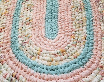 Handmade Oval Rag Rug - Peach, Cream, Light Green - Solids and Prints