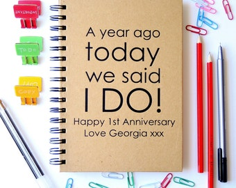 Personalised First Anniversary Paper Notebook