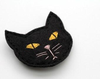 Spooky Black Cat Hair Clip. Felt Barrette. Halloween Hair.