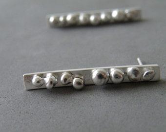 Dotted Stud Earrings Bar Studs Sterling Silver Urban Studs Silver Minimalist Earrings by SteamyLab