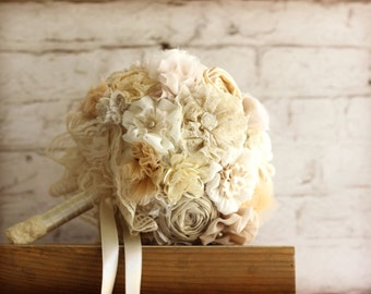Ivory bridal  Bouquet Fabric Bridal Bouquet