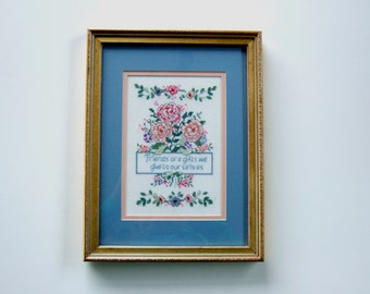 Framed Cross Stitch Embroidery Pink Flowers Friendship Poem Gift Idea for Friend Home Decor Vintage Art Cottage Chic Housewarming Gift