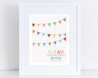custom birth stats print - colourful bunting print - custom nursery art, personalised nursery print, birth date print, birth print stat sign