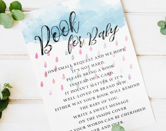 "Watercolor Rain Shower ""Book for Baby"" Card 