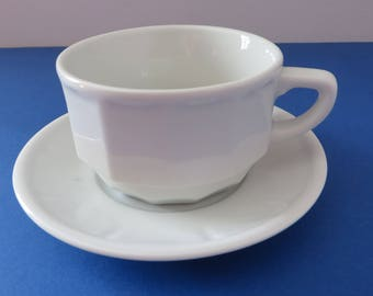 Apilco 1980's vintage Cappuccino white cup and saucer, Tea cup, Coffee cup, French Apilco