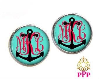 Monogram Earrings Monogram Stud Earrings, Monogram Jewlery Anchor  (439)