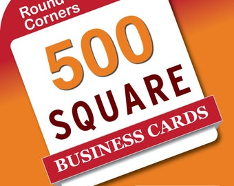 500 Square business card printing - rounded corners - mini business cards