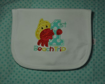 Personalized Bib with Crab and Shell