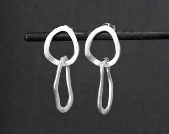 Silver Earrings, Brushed Silver Earrings, Matt Silver Earrings, Minimal Earrings, Modern Earrings, Statement Earrings, Sterling Silver, 925