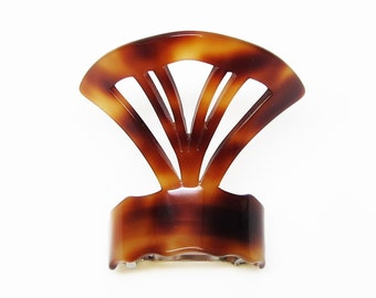 Vintage 80's ponytail holder barrette clip, tortoiseshell cellulose acetate cutout fan-shaped, made in France, new-old-stock