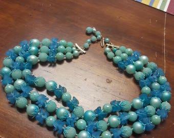 Blue Lucite Celluloid Necklace