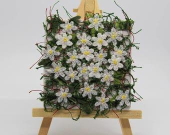 Wood Anemones - miniature textile art canvas, machine embroidery, dissolvable fabric