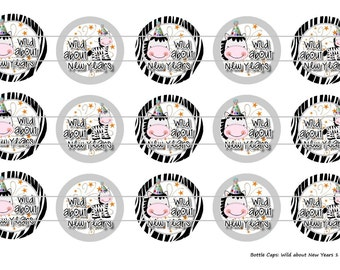 """15 Wild About New Years Digital Download for 1"""" Bottle Caps (4x6)"""