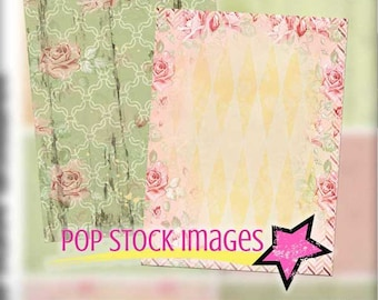 Digital Collage Sheet ATC Cards - Shabby Pastels and Roses Digital Backgrounds #3 - Collage - Altered Art - Journaling Card - Scrapbooking