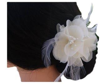 Ivory wedding hair clip, bridal flower headpiece with feathers, flower hair clip, wedding flower clip, ivory flower clips  - Noah