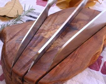 Knife block in olive tree