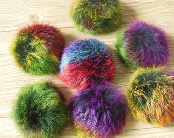 8cm Multi-Colored Genuine Rabbit Fur Pompoms