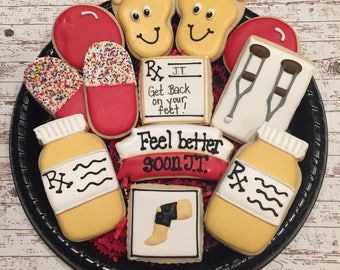 Get Well Sugar Cookies/ Surgery Gift / Knee Surgery Sugar Cookies / Shoulder surgery/ Hip surgery/Decorated Sugar Cookies / Get on your Feet