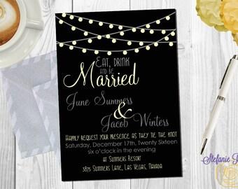 Eat Drink & be Married Wedding Invitation • Digital