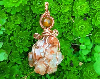 Recycled Copper Wire Aragonite Crystal Necklace Pendant