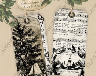 Instant Download Digital Printable Gift Tag Set - Christmas Carols in Black and White