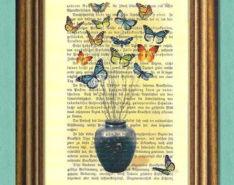 BUTTERFLIES BOUQUET - Dictionary Art Print - Wall Art - Book page print recycled
