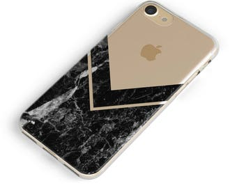 Clear Marble iPhone Case, Black, iPhone 8 Case, iPhone 7 Case, iPhone 8 Plus Case, iPhone 7 Plus, iPhone 6 /6s, iPhone 6 6s Plus