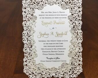 Floral Laser Cut Invitations de mariage mariage rustique Die coupe Laser coupe Kraft rustique mariage invite découpé au Laser