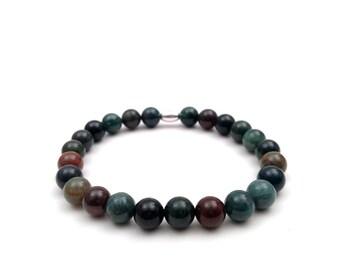 Bloodstone bracelet, March birthstone, minimalist bracelet, bloodstone beads, March stone, elastic bracelet, 8mm, gift, bloodstone, March.