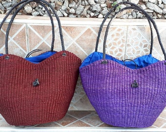 African woven bag, handmade straw tote purse, ecofriendly handwoven bag, leather handles, wine or purple color