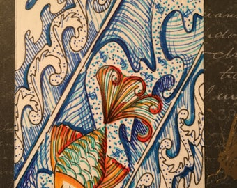 Artist Trading Card, ATC, Artwork, cards, ACEO, Art and Collectibles, illustration, Affordable Art #003 Cashflow Swim