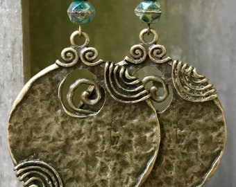 Green Earrings, Bohemian Earrings, Bohemian Jewelry, Bronze Earrings, Boho Earrings, Statement Earrings, Rustic Earrings, Ethnic Earrings