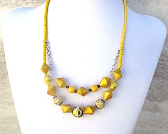 Mustard Yellow Necklace, Chunky Yellow Necklace, Tiered Goldenrod Jewelry, Gift for Her, Matching Earrings Available 19-22in