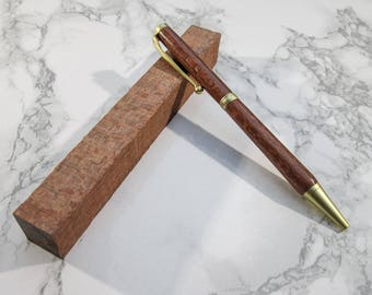 Hand-turned slimline exotic wooden pen made from Ropalo Lacewood, with brushed-gold fittings - May be personalised with Name or phrase