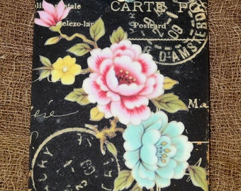 French Floral Postcard Gift or Scrapbook Tags  or Magnet #112