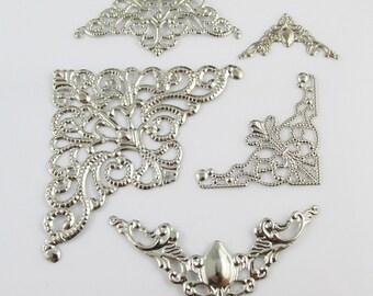 20pcs Metal Filigree Corner Embellishments Silver Craft Cards Scrapbooking (CE047)