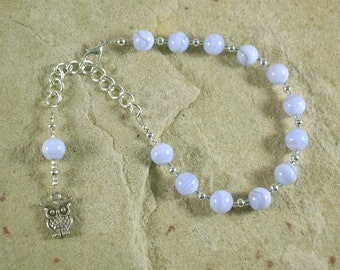 Athena Prayer Bead Bracelet in Blue Lace Agate: Greek Goddess of Wisdom, Weaving and Crafts, Strategy and War, Protector of Cities