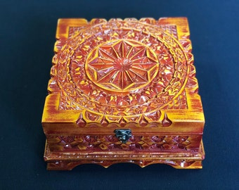 Handmade carver box, Special gift for you darling people, Jewelry box OSCAR, wooden jewelry case, ring box OSCAR, vintage box OSCAR handmade