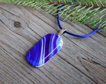 """Blue and White Fused Glass Pendant """"Streaks of Blue"""" and Satin Necklace; Fused Glass Jewelry; Fused Glass Necklace; Unique Glass Treasures"""