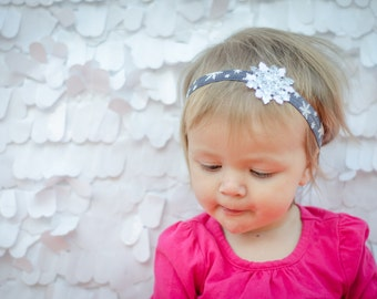 Dark Gray Snowflake Elastic Headband with Silver + White Snowflake Accent - Multiple Sizes - Great for Winter, Christmas, Holidays!
