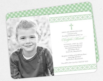 First Communion Invitation, First Holy Communion Invitation, Photo Communion Invitation, DIY Invite, PDF Invite, Boy Invite, Green, Chris