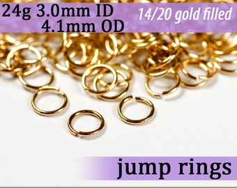 24g 3.0mm ID 4.1mm OD gold filled jump rings 24g3.00 goldfill jumprings 14k goldfilled