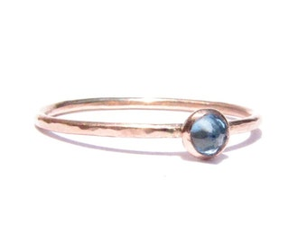 On Sale -Blue Topaz Ring-Rose Gold Ring-Solid Gold Ring-Stacking Ring-Thin Gold Ring-Gemstone Ring-Engagement Ring- Blue Ring-Made To Order.