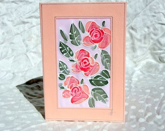 Sweet Red Rose Card/Rose Birthday Card/Unique silk painting card/Rose Gift Card/Rose Wedding Card/Flower Greeting Card/Rose Mother's Day