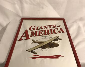 Old Bar GIANTS OF AMERICA drawing airplane + Vintage red frame mirror