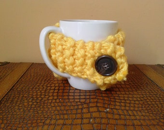 Sunshine Yellow Coffee Cozy with Plastic Button